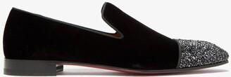 Christian Louboutin Dandelion Crystal-embellished Velvet Loafers - Black