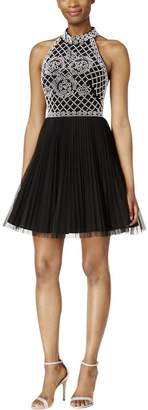 Xscape Evenings Women's Short Bead Halter with Pleat Tulle Skirt