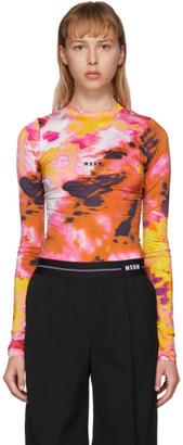 MSGM Pink Watercolor Long Sleeve T-Shirt
