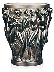 Lalique Large Bacchantes Deep Green Vase