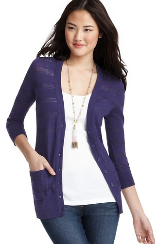 LOFT Sheer Striped 3/4 Sleeve Cotton Cardigan