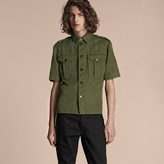 Burberry Short-sleeved Ramie Cotton Military Shirt