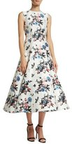 Valentino Sleeveless Enchanted Jungle Brocade Dress, White/Multi