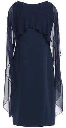 Reem Acra Cape-effect Chiffon-paneled Cady Dress