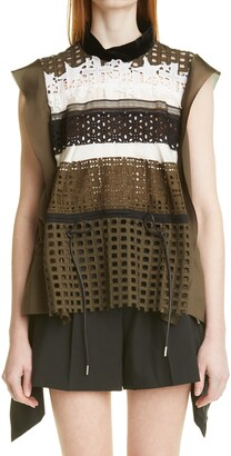 Sacai Embroidery Lace Sleeveless Top