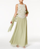 J Kara Embellished Mock 2-Pc. Gown and Shawl