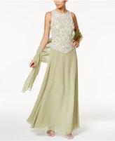 J Kara Embellished Mock 2-Pc. Gown and Shawl