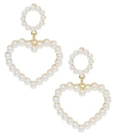 Ettika Heart Imitation Pearl Earrings