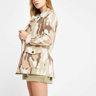 River Island Womens Cream camo sequin army jacket