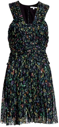 Derek Lam 10 Crosby Floral Ruched Silk-Blend A-Line Dress