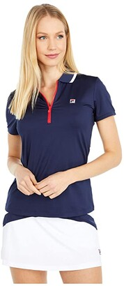 Fila Heritage Tennis Polo (White/Electric Blue/Chinese Red) Women's Clothing