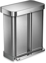 Simplehuman Dual Compartment Rectangular 15.3-Gallon Step Trash Can
