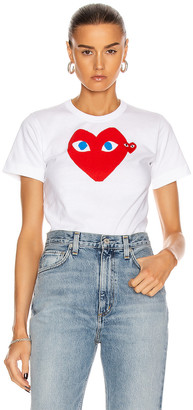 Comme des Garcons Cotton Red Heart Emblem Tee in White | FWRD