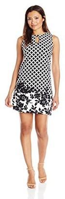 Gabby Skye Women's Petite Sleeveless Round Neck Crepe Shift Dress
