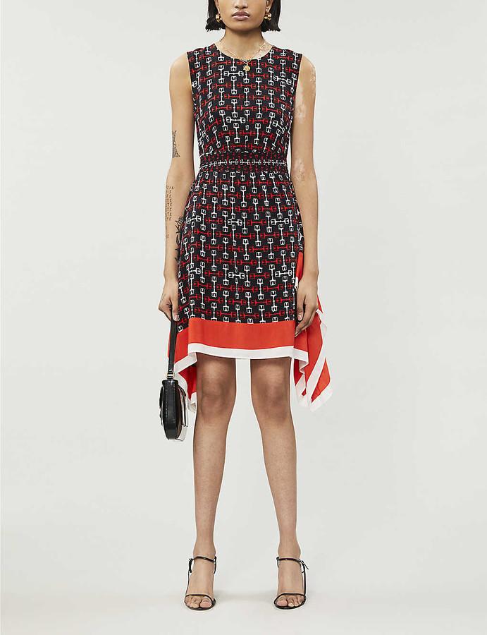 Maje Geometric-print crepe mini dress