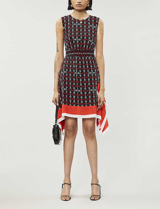 Maje Geometric-print crepe mini dress