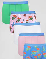 Asos Trunks With Cactus Print 5 Pack Save