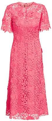 Lela Rose Floral Applique Flutter-Sleeve Midi Dress
