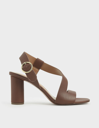 Charles & Keith Asymmetric Strap Heeled Sandals