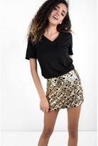 Glamorous Leopard Print Sequin Skirt