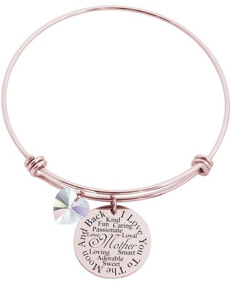 I Love You to the Moon Bangle Made with Crystals from Swarovski by Pink Box Mother Rose Gold