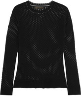 Versace Open-knit cotton and silk-blend top