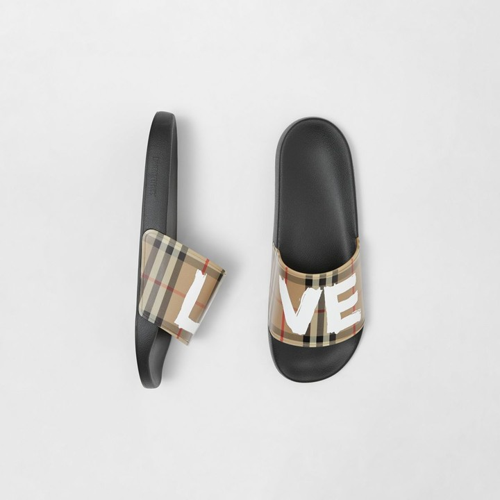 Burberry Love Print Vintage Check Slides