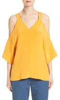 Tibi Women's Cold Shoulder Silk Blouse