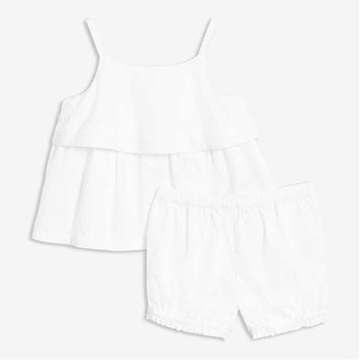 Joe Fresh Baby Girls' Eyelet Tank Set, White (Size 12-18)