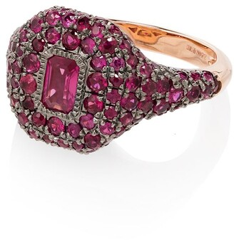 Shay 18kt Rose Gold Pave Ruby Pinky Ring
