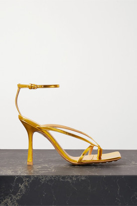 Bottega Veneta Metallic Leather Sandals - Gold