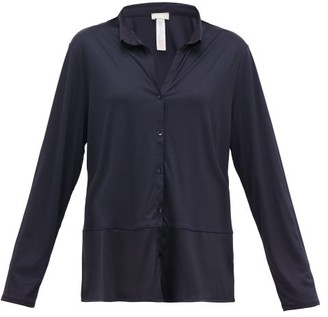 Hanro Grand Central Satin-trimmed Jersey Pyjama Top - Womens - Navy