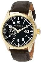 Akribos XXIV Men's AK785YG Swiss Quartz Movement Watch with Black Dial and Brown Leather Strap