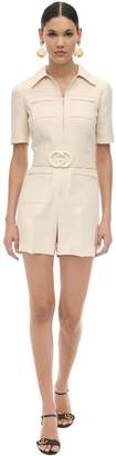 Gucci Short Belted Wool & Silk Cady Jumpsuit