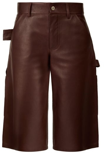 Bottega Veneta Knee-length Leather Shorts - Womens - Burgundy