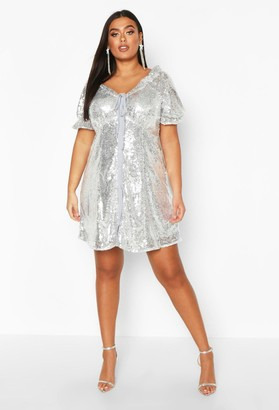 boohoo Plus Sequin Puff Sleeve Skater Dress