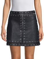 Alice + Olivia Women's Riley Studded Leather and Lace Mini Skirt