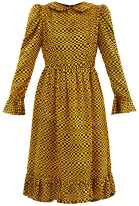 Batsheva Puff-shoulder Checked Velvet-devore Dress - Gold Multi