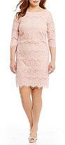 Jessica Howard Plus 3/4-Sleeve Lace Sheath Dress