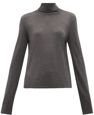 The Row Margita Roll-neck Silk Sweater - Womens - Dark Grey