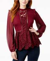 Kensie Mixed-Media Peplum Top
