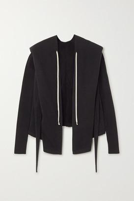 Rick Owens Felpa Tie-detailed Cotton-jersey Hoodie - Black