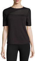 Elie Tahari Kelly Mesh-Insert Performance Top, Black