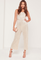 Missguided Pleated Strappy Back Culotte Romper Nude