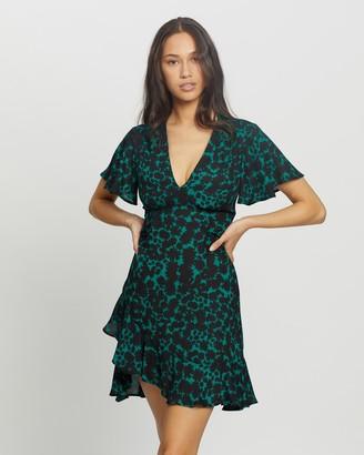 Topshop Splodge Print V-Neck Tea Mini Dress