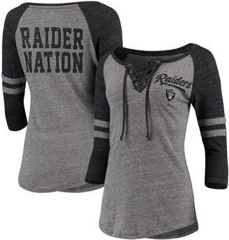 New Era Women's Heathered Gray/Heathered Black Oakland Raiders Lace-Up Tri-Blend Raglan 3/4-Sleeve T-Shirt