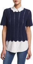 Frame Crochet Short-Sleeve Boxy Top, Navy