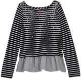 Joe Fresh Studded Stripe Peplum Top (Big Girls)