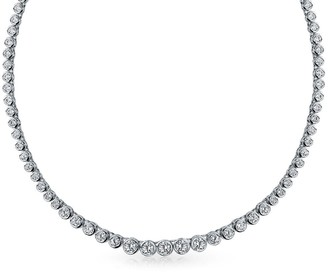 Bling Jewelry Bridal Cubic Zirconia Round Bubble Bezel Set Statement AAA CZ Tennis Necklace For Women For Prom Silver Plated Brass