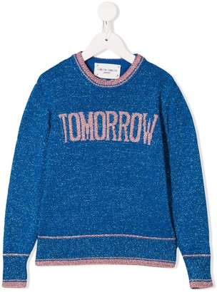 "Alberta Ferretti Kids ""Tomorrow"" glitter embellished crew neck sweater"